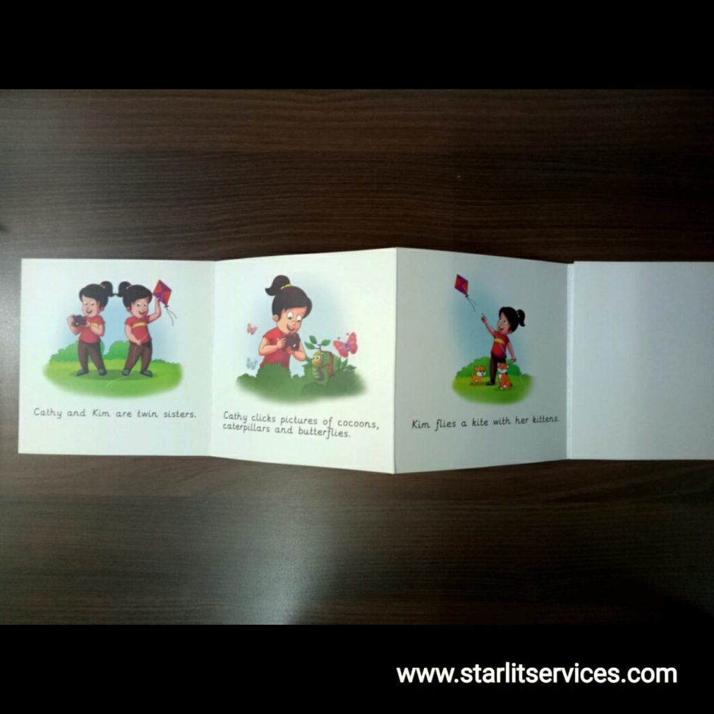 Story books with demonstrative images and one liner texts.